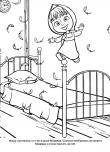 Мультик раскраска Маша прыгает на кровати